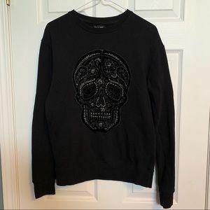 Zara embroidered skull sweatshirt